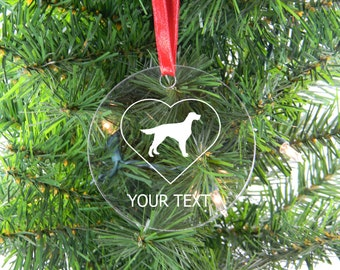 Personalized Custom Gordon Setter Clear Acrylic Christmas Tree Ornament
