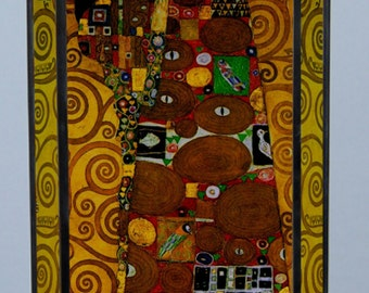 Gustav Klimt - The Embrace, Stained glass