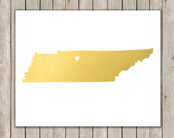 8x10 Tennessee State Printable, State Wall Art, Metallic Gold Printable Art, Tennessee Poster, Office, Home Decor, Instant Digital Download