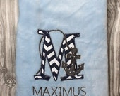 Monogrammed baby blanket plush with Anchor in navy and gray personalized with name baby shower gift embroidered modern nautical crib bedding