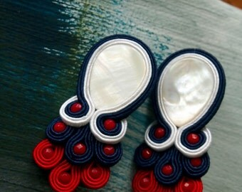 ELEGANT SAILOR Soutache Earrings with Nacre and Coral Jade- Antidotum- Craftwork- Handmade- Soutache Jewellery