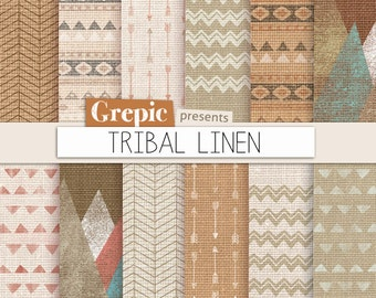 """Tribal digital paper: """"TRIBAL LINEN"""" with aztec patterns and tribal patterns on linen canvas in neutral color backgrounds and textures"""