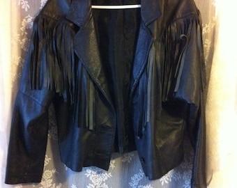 Black Leather Fringe Bike Motorcycle Jacket 80s