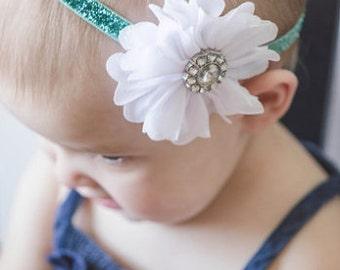 Mint Headband- Christmas Headband, Holiday Headband, White Flower, Sparkle headband