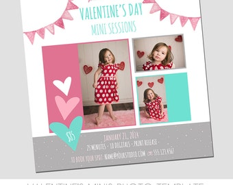 Valentine's Day Mini Session Photography Template - Marketing Template - Sweet - Hearts - Pink - Pennants - Polka Dots