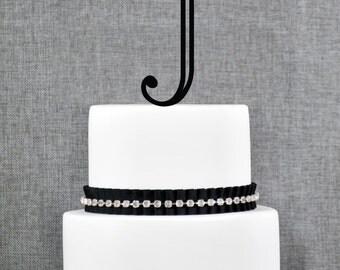 Personalized Monogram Initial Wedding Cake Toppers -Letter J, Custom Monogram Cake Toppers, Unique Cake Toppers, Traditional Initial Toppers