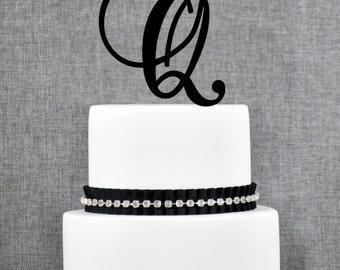 Personalized Monogram Initial Wedding Cake Toppers -Letter Q, Custom Monogram Cake Toppers, Unique Cake Toppers, Traditional Initial Toppers