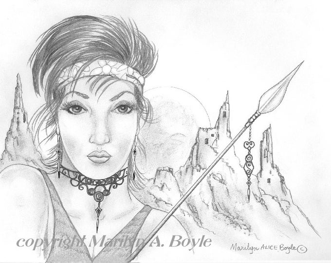 PRINT- FANTASY- DRAWING; young lady warrior. graphite, fantasy, woman, wall art, character portrait, avatar,