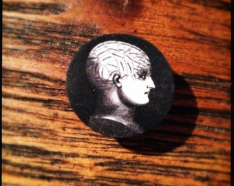 The Phrenomagnetist Phrenology Cameo Magnetic Brooch - Wearable Black and White Illustration Brooch