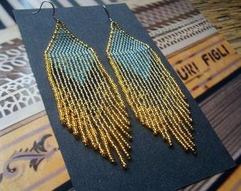 Golden Dawn...Beaded Fringe Earrings Native American Inspired