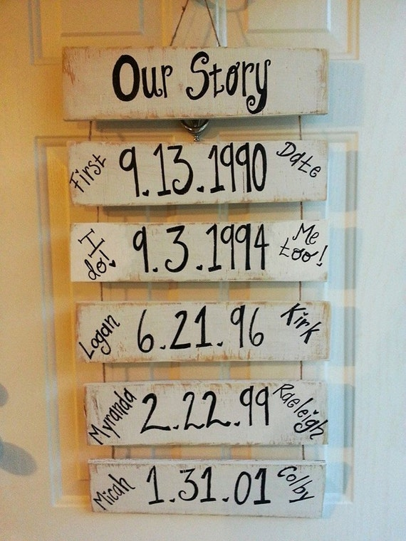 Wood Wedding Gift Ideas: OUR STORY Important DATES Wood Sign First By