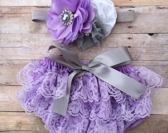 Lavender, Grey and White Lace Petti Bloomer Set with Matching Headband - Cake Smash Outfit - First Birthday - Photography Prop