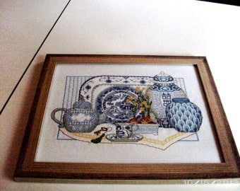 Japanese Garden Dreft Blue Dishes Cross-stitch Pichture