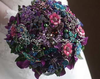 "Burgundy Crystal Wedding Brooch Bouquet. Purple Wine Bridal Broach Bouquet. ""Purple Divine"" Jewelry Heirloom Bouquet"