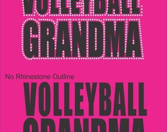 Volleyball Grandma T Shirt/ Volleyball Grandma Shirt/ Volleyball Grandma Clothing/ Vinyl Rhinestone Volleyball Grandma Short Sleeve T-Shirt