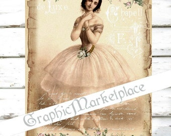 Ballerina Tutu Ballet French Large Download Shabby Chic Transfer Fabric digital collage sheet No. 1159
