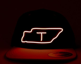 Light Up Tennessee Hat made with El Wire in all colors; blue, green, orange, yellow, pink, purple, white