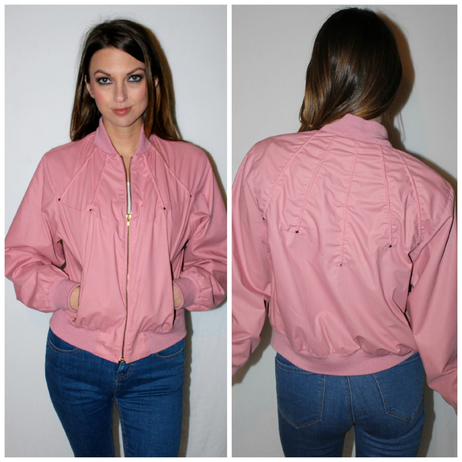 Vintage PINK LADIES Track Jacket 80s Dusty Rose Gold Zipper