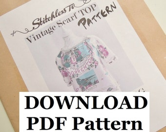 Download PDF Pattern for Raglan Sleeve Vintage Scarf Top
