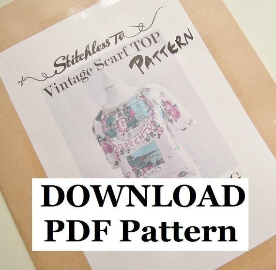 Download PDF Pattern for Raglan Sleeve Vintage Scarf Top