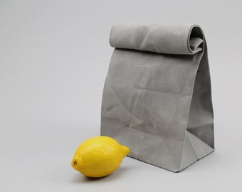 """The """"Brown"""" Bag // Grey WAXED Canvas Lunch Bag, an updated, eco-friendly classic"""