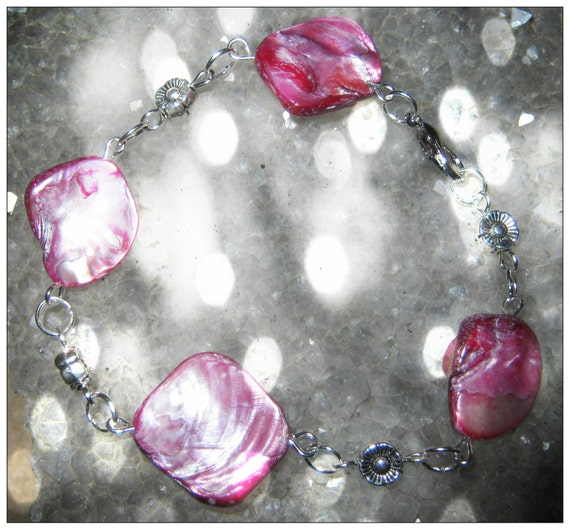 Handmade Silver Bracelet with Pink Seashell & Flowers by IreneDesign2011