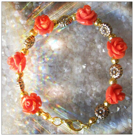 Handmade Gold Bracelet with Resin Roses & Flowers by IreneDesign2011