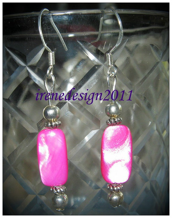 Handmade Silver Hook Earrings with Pink Seashell by IreneDesign2011