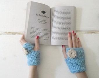 Light blue Crocheted spring fingerless gloves with flower