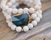 Agate Geode, White Turquoise stretch bracelet set