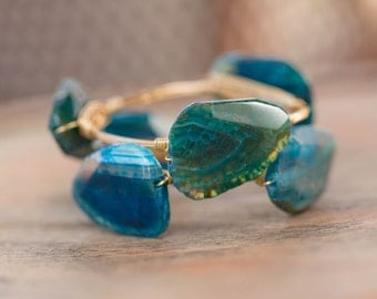 Blue Agate Wire Wrapped Gold Bangle