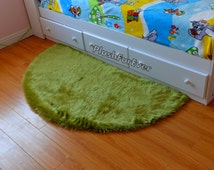 Half Moon 5' Faux Fur shaggy Area Rug/ Olive Green Fur/  5' diameter half circle/ baby shower gift nursery rugs/ luxury modern baby rugs