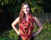 Triangle Scarf, Crocheted Scarf, Infinity Scarf, Cowl Scarf, Red Scarf, Boho Scarf, Crochet Scarf, Gift for Her, Women's Spring Scarf
