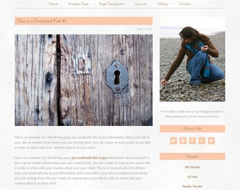 "Wordpress Theme, Responsive, Wordpress Blog Template, Genesis Child Theme, Clean, watercolour, Romantic, Wedding, Feminine, ""Just Peachy"""