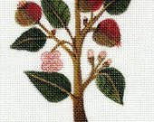 Trees & Flowers of Tudor England Crab Apple Hand-painted Needlepoint Canvas