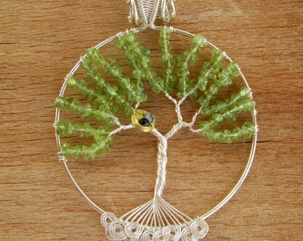 Tree Of Life pendant silver Peridot Tree Of Life necklace With Nest And Roots Family Tree, Wire Tree Peridot jewelry Mom gift
