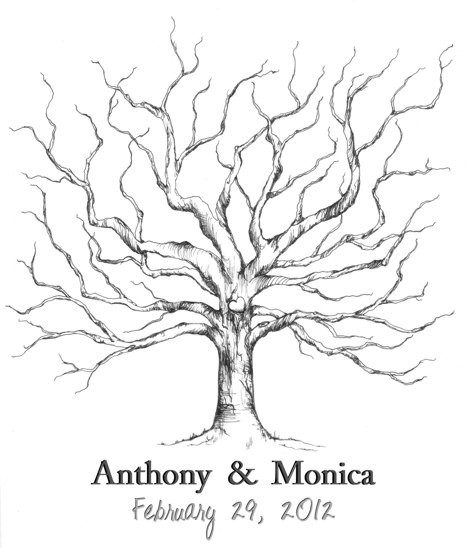 Wedding Tree Fingerprint Tree Thumb Print Guest Book: Wedding Guestbook Fingerprint Tree Guest Book By CForiginal