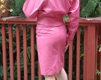 Pink Leather Chia label Jacket & Skirt Set 80s Showstopper Batwing Jacket Matching High Waist Pencil Skirt