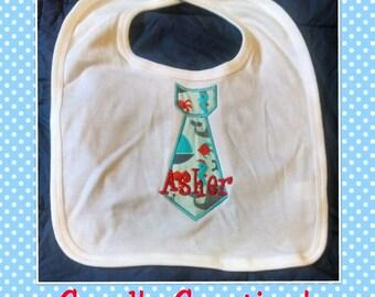 monogrammed tie applique,personalized boy's bib,baby boy tie bib,personalized,baby boy gift,shower gift,monogrammed tie,drooler,drooling bib