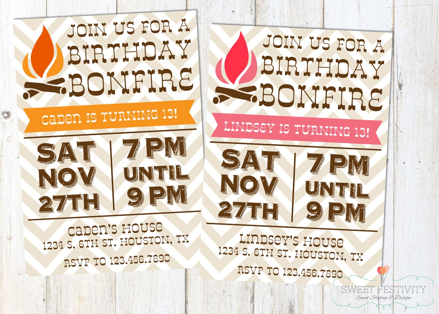Bonfire Printable Birthday Party Invitation by SweetFestivity