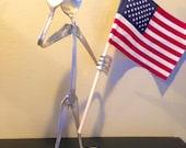 Saluting upcycled silverware with flag... Patriotic gift... Army... Marines... Navy... Coast Guard...Patriotic vintage silverware art...