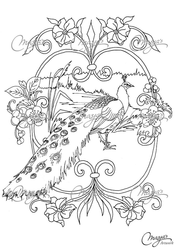 Items Similar To Masjas Peacock Coloring Page On Etsy