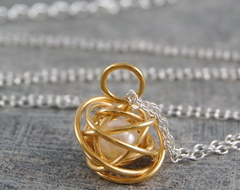 Gold Pendant, Handmade Pendant, Simple Gold Necklace, Freshwater Pearl Necklace, Wire Wrapped Necklace, Gold Knot Necklace , Silver and Gold