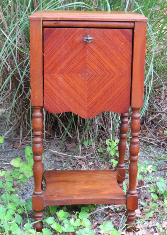 Vintage smoking table side stand wood furniture