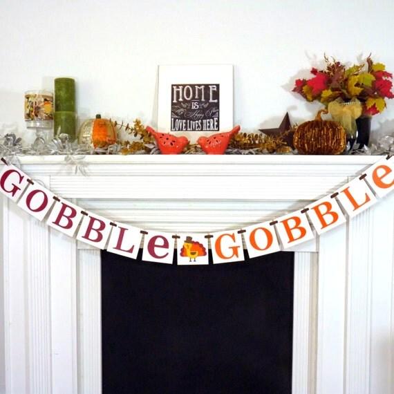Decorating Ideas > Thanksgiving Decorations Banner Gobble Gobble Banner ~ 070224_Thanksgiving Decorations On Etsy