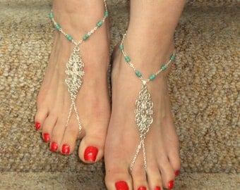 Silver turquoise barefoot sandals, Turquoise barefoot sandals, Ankle slave foot, Barefoot sandals UK,  Bare foot sandals, Silver ankle slave