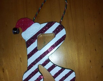 Candy Cane Striped Wooden Letter