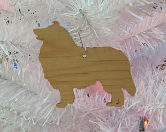 Rough Collie Ornament in Wood or Mirror Acrylic Customizable with Name