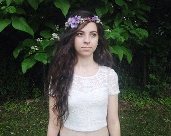 Whimsical Purple Flower Crown