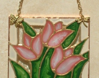 Art Gifts Pink Tulips Stained Glass Panel Tulip Art Wall Decor Stained Glass Painting Flower Suncatcher Tulips Wall Hanging Tulips Ornament